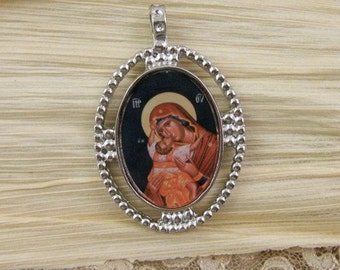 Sweet Kissing (Glykopfilousa) Pendant - Beautiful Byzantine / Orthodox Image of Mary and Jesus