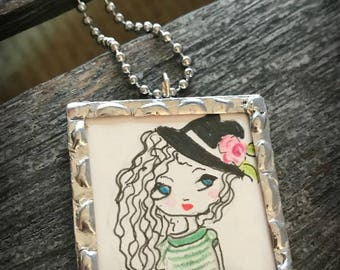 Hand-drawn cartoon girl with hat - Silver soldered necklace