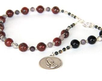 Serenity Prayer Beads, Men's 12 Step Recovery Meditation Beads