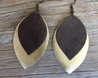 Medium Leather Leaf Earrings