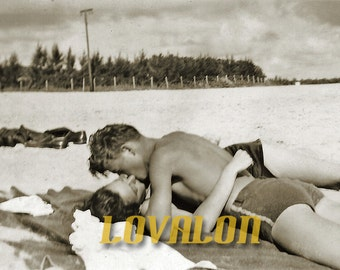 1940's Romantic Beach Kiss... Deluxe Art Print... Vintage Snapshot Photo... Available In Various Sizes