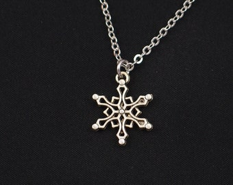 snowflake necklace, sterling silver filled, winter necklace, silver snowflake charm on silver chain, snowy jewelry, love snowflakes, winter