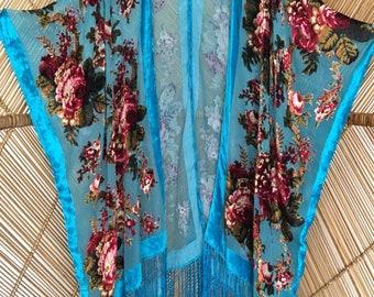 kimono jacket,shawl jacket,velvet shawl jacket,cover up.florals,devore jacket,plus size,wearable art,burnout velvet kimono.velvet kaftan