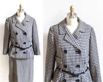 1960s Vintage Wool Jacket & Skirt Suit / Black and White Houndstooth Suit