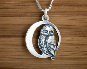STERLING SILVER  Owl in the Moon double sided, My ORIGINAL Pendant Necklace or Earrings- Chain Optional