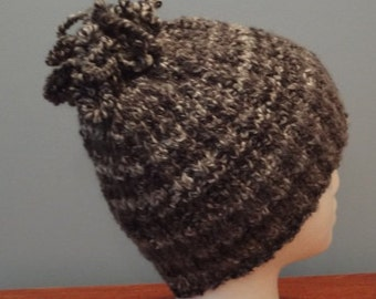 Hand-Knit Hat with Curly Loop on Top. For men or women- Ready to be Shipped - Free Shipping