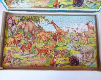 Victory Jungle  12 cut out animals Vintage & Vehicle puzzle pieces