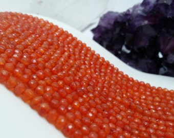 "Carnelian Faceted Rondelles A Quality 3-4mm, 13.5-14""L"