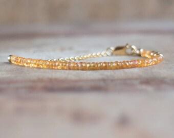 Orange Sapphire Bracelet, Mothers Day, Gift for Wife, Gemstone Bracelet, Genuine Sapphire Jewelry, Handmade Jewelry, September Birthstone
