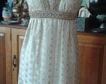 Sparkly 60s Cocktail Party Dress Cream, Gold and Silver,  Rhinestone & Pearl Accents, Sm