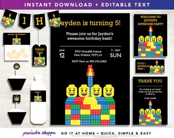 Lego Birthday Party Printables / Invitation - INSTANT DOWNLOAD - Fully EDITABLE text