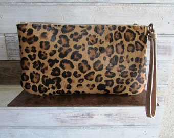 Leopard print clutch, animal print clutch, cowhide clutch, iphone clutch wallet, leather clutch, iphone wallet, small cowhide purse