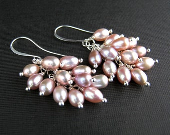 Lustrous Mauve Freshwater Pearl Cluster Earrings Mauve Pearl Earrings Mauve Pearl Waterfall Earrings