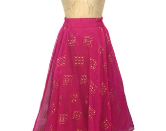 vintage Indian embellished chiffon skirt / pink gold / full skirt / maxi skirt / India / sari fabric / women's vintage skirt / size large