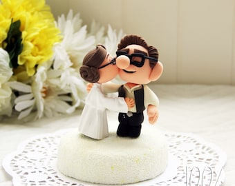 Custom Wedding Cake Topper - Star Wars Kissing Couple (UP)