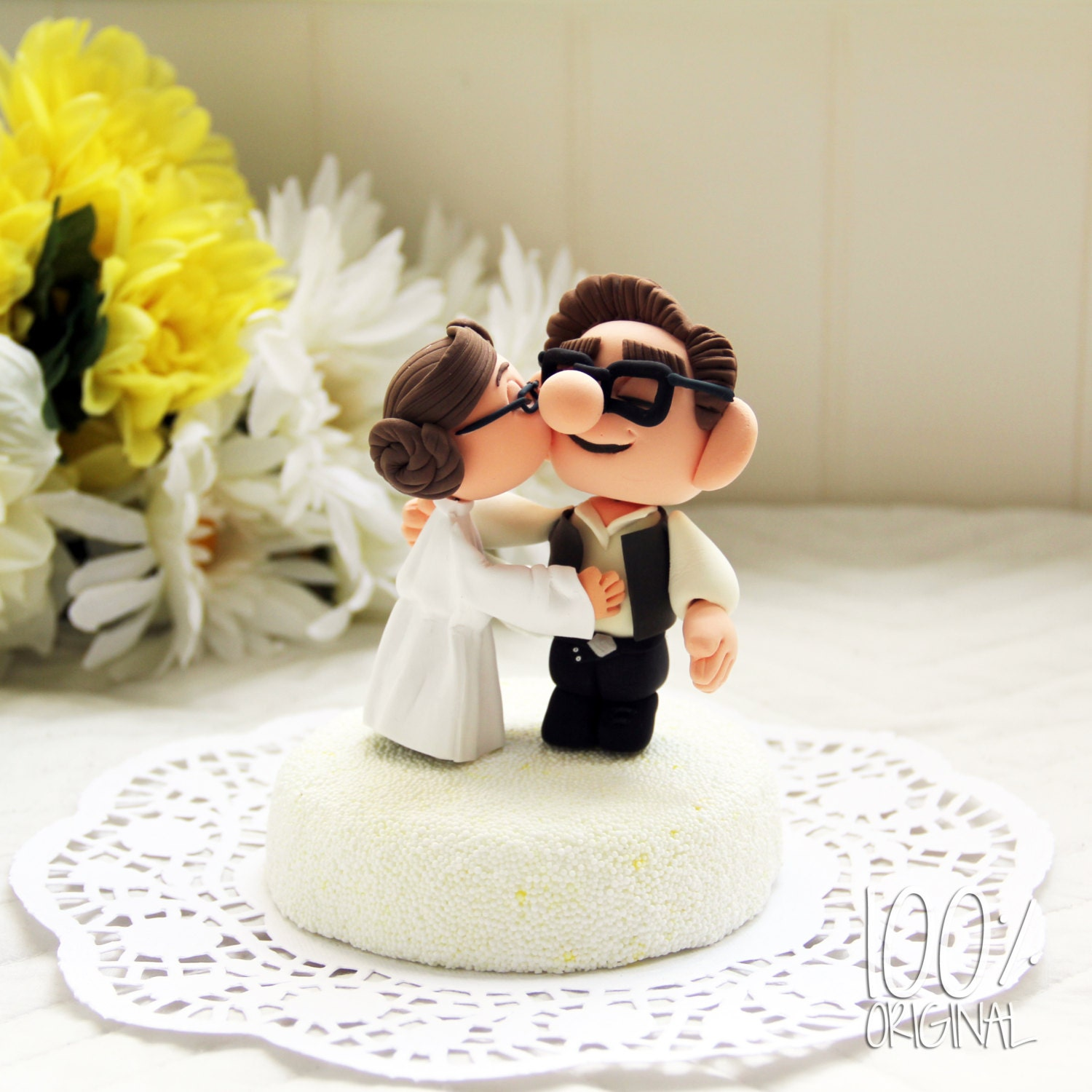 Custom Wedding Cake Topper Star Wars Kissing Couple UP