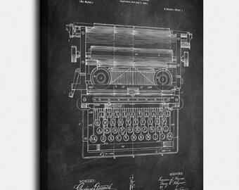 Typewriter Canvas, Typewriter Patent, Typewriter Vintage, Typewriter Blueprint, Typewriter Print, Typewriter Prints, Wall Art, Decor