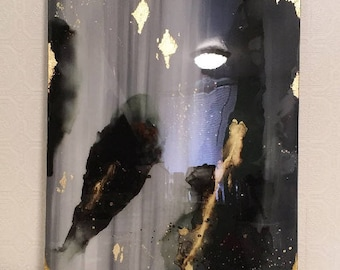 Classic Black Grey Gold Modern Sultry Smokey Cloudy Contemporary Sleek Shiny Acrylic Abstract Canvas Painting With Gold Leaf Resin