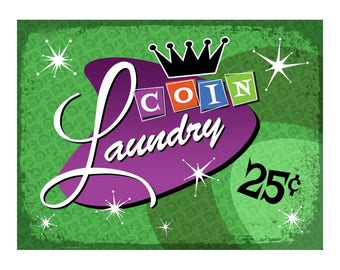 Green Coin Laundry Metal Sign Retro Laundromat Décor for decorating Laundry Room