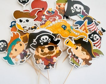 Pirate Cupcake Toppers, Cupcake Flags, Cupcake Toothpick Party Decor - Double-sided Deluxe Size
