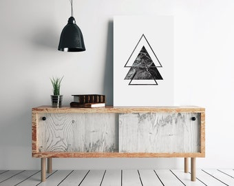 Printable Triangle Scandinavian Poster, Triangle Geometric Art, Nordic Print, Minimal Print, Nordic Poster, Large Wall Art, Modern Print