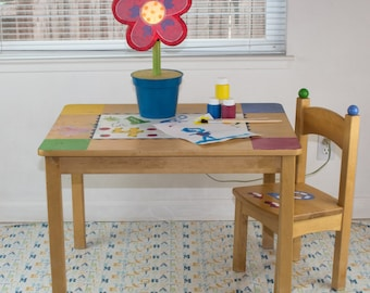 "Splat Mat/Tablecloth ""Boy Letters "" - Laminated Cotton BPA  & PVC Free - Choose Your Size below!"