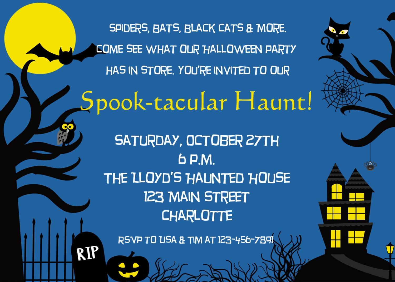 Haunted House Halloween party invitation spooky