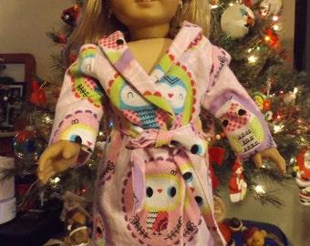 "18"" Doll Housecoat, 18"" Doll Robe, 18"" Doll Owl Robe, American Girl Housecoat, American Girl Robe, AG Doll Robe, AG Doll Housecoat"