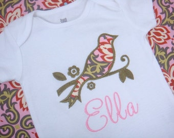 Personalized Baby Girl Bodysuit -Personalized Baby Girl Bird Shirt - Vintage Bird Bodysuit