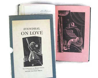 Stendahl On Love, book in slipcase, block print illustrations by Greco
