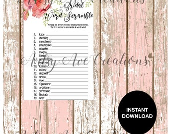 Bridal Shower Word Scramble Downloadable Game // INSTANT DOWNLOAD GAME //