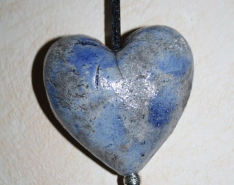 Ceramic raku heart (large)