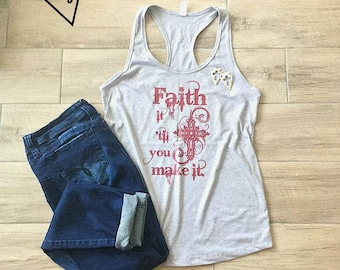 Faith - Tank top, grey, shirt, women's, belief, God, higher power