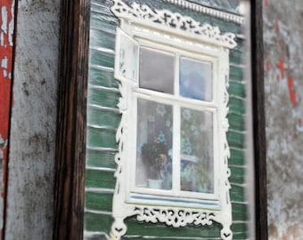 Russian decorative dacha window. Original Encaustic Photography. Rostov, Russia. Fine art wall decor. Rustic. Green, white. Framed 5x7