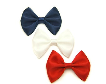 Nautical Satin Bows, Satin Tuxedo Bow, Red, White, Navy Blue, Marine, Sailor, Satin Hair Bows for Girls, Women, Basic Colors, Classic Bow