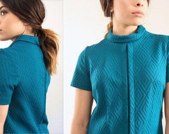 Vintage 1970's A-Line Deep Teal Dress