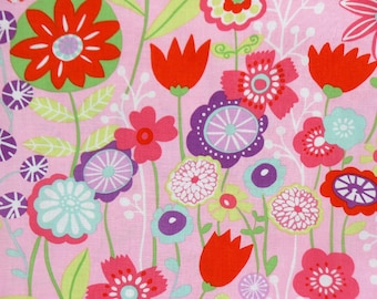 Alexander Henry Cotton Woven Fabric - Kaori Floral Pink - Floral Flowers Quilters Cotton Woven Fabric by the yard - The Fabric Zoo