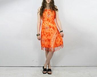 Orange Tie Dye Sundress / Boho HIPPIE DRESS INDIA Ethnic Tie Dye Neon Orange Festival Vintage Fringe Hemline Dress Retro Bohemian Dress