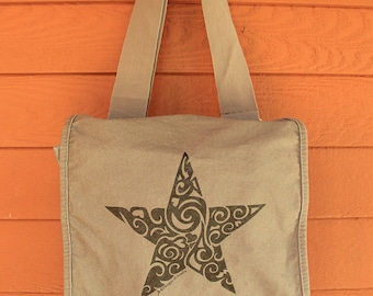 Star Tribal Tattoo Messenger Field Bag -  Screen Printed Original Design