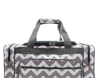 Monogrammed Large Gray Chevron Duffel- Personalized Gift-Monogram Duffel-Personalized Overnight Bag-Embroidered Duffle-Embroidered Carry On