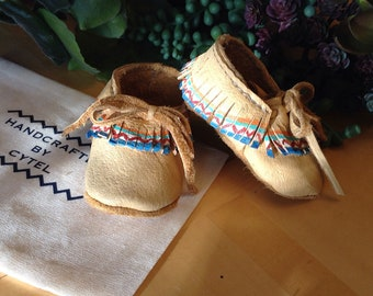 Soft soled 0-3m leather moccasins