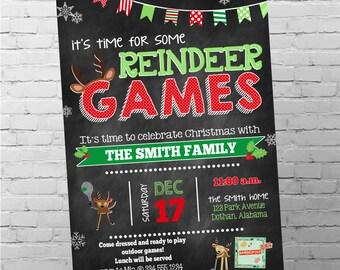 Christmas Party Invitation   Reindeer Games Party   Christmas Games Invitation   Reindeer Christmas Invitation   Digital Invitation