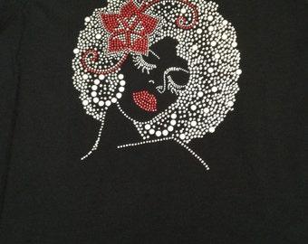 Bling Afro Girl Tee Shirt