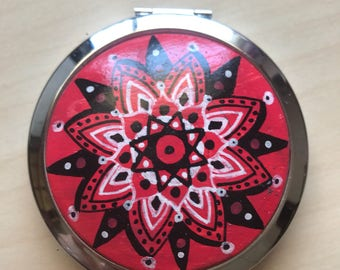 Valentines Gift, Makeup Mirror, Mandala Pocket Mirror, Compact Mirror, Make Up Pocket Mirror, Hand Mirror, Mirror for Purse, Gift For Her,