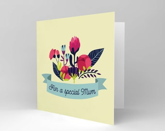 For a Special Mum / Mothers Day Card / Flowers / Pretty / Floral / Blank Greetings Card CS1588