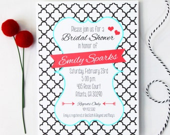 Bridal Shower Invitation Custom Red and Turquoise Invitation Printed Invite Couples Shower Black and White Invitation Modern Wedding Shower