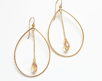 Gold teardrop hoop earrings with Swarovski Crystals - gold earrings - crystal earrings - Swarovski earrings