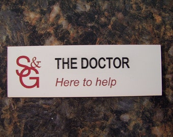 """Doctor Who Dr Who Name Tag as seen in """"Closing Time"""" episode."""