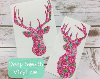 Deer Head Vinyl Decal, Deer Head Decal, Deer Decal, Hunting Decal, Floral Decal, Permanent Vinyl Decal