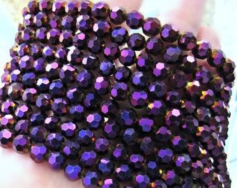 """6mm crystal Purple Beads, 20"""", purple glass beads, faceted, Metallic beads, mauve beads, violet crystal beads, plum beads, 6mm glass beads"""
